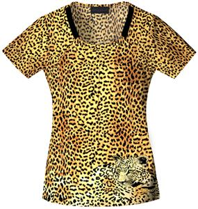 Baby Phat Women's She's A Wild One Scrubs Top