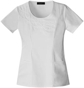 Baby Phat Women's Scoop Neck Scrubs White Top