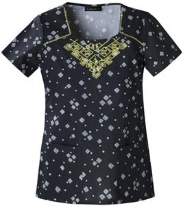 Baby Phat Womens Geo Nights Scrubs Square Neck Top