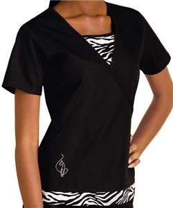 Baby Phat Women's Kingdom Zebra Print Scrubs Top