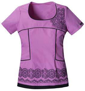 Baby Phat Women's Scoop Neck Scrubs Top