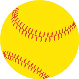 Round Softball Magnet  SB04NV019