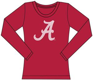 Alabama Univ Womens Jeweled Long Sleeve Top