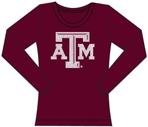 Texas A&amp;M Womens Jeweled Long Sleeve Top