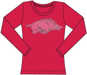 Arkansas Razorbacks Womens Jeweled Long Sleeve Top