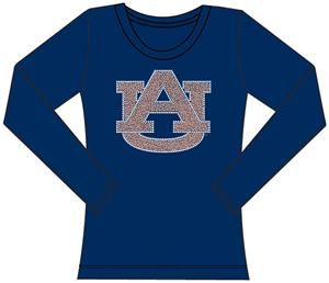 Auburn Tigers Womens Jeweled Long Sleeve Top