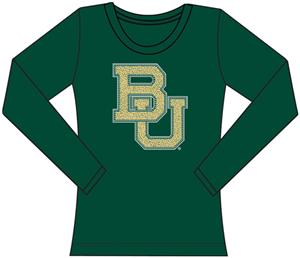 Baylor Bears Womens Jeweled Long Sleeve Top