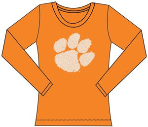 Clemson Tigers Womens Jeweled Long Sleeve Top