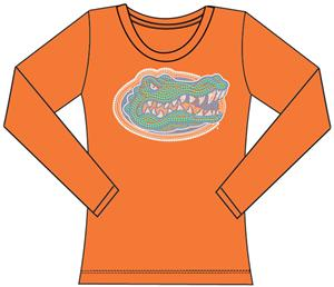Florida Gators Womens Jeweled Long Sleeve Top