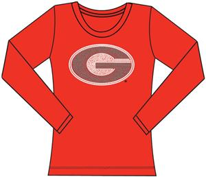 Georgia Bulldogs Womens Jeweled Long Sleeve Top