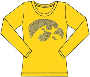 Iowa Hawkeyes Womens Jeweled Long Sleeve Top