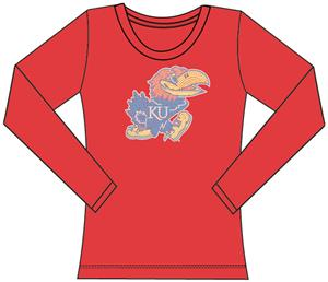 Kansas Jayhawks Womens Jeweled Long Sleeve Top