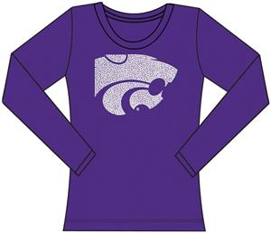 Kansas State Womens Jeweled Long Sleeve Top