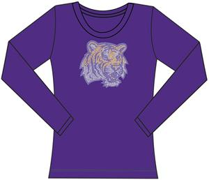 LSU Tigers Womens Jeweled Long Sleeve Top