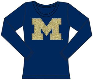 Michigan Wolverines Womens Jeweled Long Sleeve Top