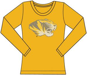 Missouri Tigers Womens Jeweled Long Sleeve Top