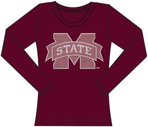 Mississippi State Womens Jeweled Long Sleeve Top