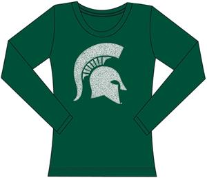 Michigan State Womens Jeweled Long Sleeve Top