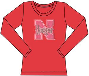 Nebraska Cornhuskers Women Jeweled Long Sleeve Top