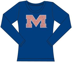 Ole Miss Womens Jeweled Long Sleeve Top