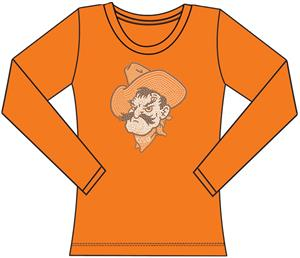 Oklahoma State Womens Jeweled Long Sleeve Top