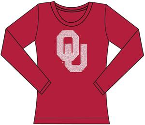 Oklahoma Sooners Womens Jeweled Long Sleeve Top