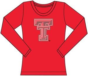 Texas Tech Womens Jeweled Long Sleeve Top