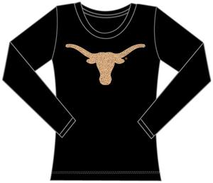 Texas Longhorns Womens Jeweled Long Sleeve Top