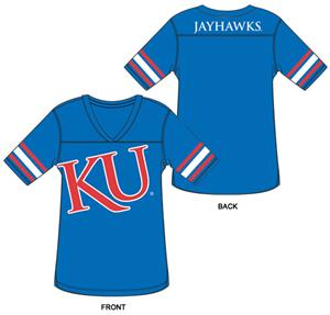 Kansas Jayhawks Burnout Football Jersey Nightshirt