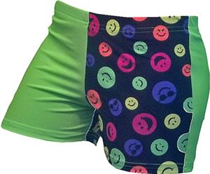 Gem Gear 4 Panel Green Happy Face Shorts