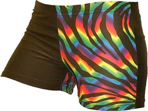 Gem Gear 4 Panel Tie Dye Zebra Compression Shorts