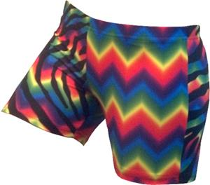 Gem Gear 4 Panel Zebra/Zig Zag Tie Dye Shorts