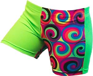 Gem Gear 4 Panel Green Neon 60s Swirl Shorts