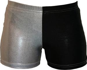 Gem Gear 4 Panel Black &amp; Silver Metallic Shorts