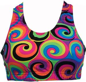 Gem Gear 60&#39;s Swirl Racer Back Sports Bra