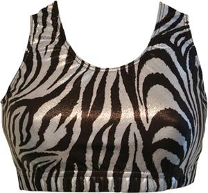 Gem Gear B & W Metallic Zebra Racer Back Bra