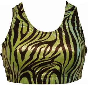 Gem Gear Green Metallic Zebra Racer Back Bra