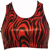 Gem Gear Red Metallic Zebra Racer Back Sports Bra