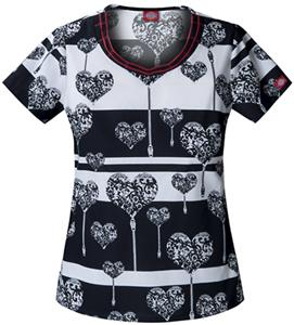 Dickies Women's Fashion Print V-Neck Scrub Tops