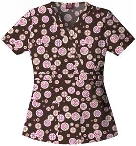 Dickies Women's Hip Flip Print Mock Wrap Scrub Top