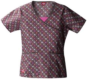 Dickies Women&#39;s Hip Flip Print Mock Wrap Scrub Top