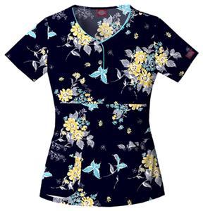 Dickies Women's Printed Henley Style Scrub Top
