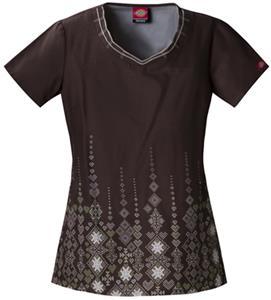 Dickies Women's Cotton Print V-Neck Scrub Tops