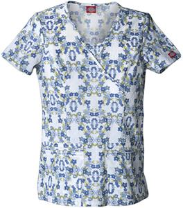 Dickies Women's New Blue Print Mock Wrap Scrub Top