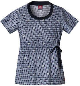 Dickies Women's Hip Flip Print Smocked Scrub Tops