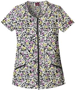 Dickies Women's Hip Flip Print Zip Down Scrub Tops