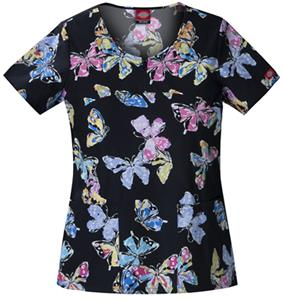 Dickies Women's Cotton Print V-Neck Scrub Tops