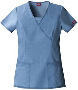 Dickies Women's New Blue Mock Wrap Scrub Tops