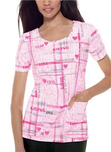 Baby Phat Womens Faith & Love Scrubs Round Top