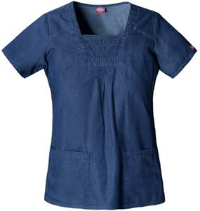 Dickies Women&#39;s New Blue Square Neck Scrub Tops